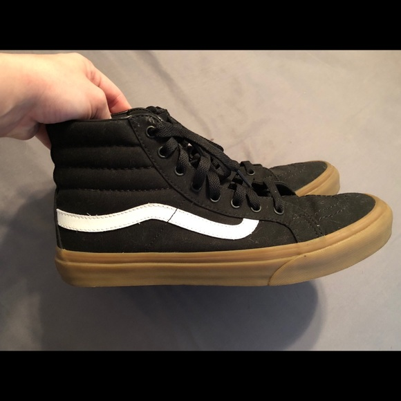 vans black gum hi tops